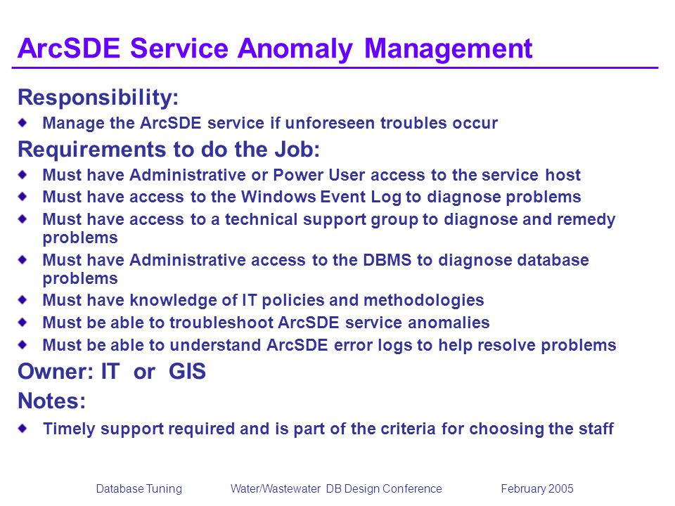 ArcSDE Service Anomaly Management