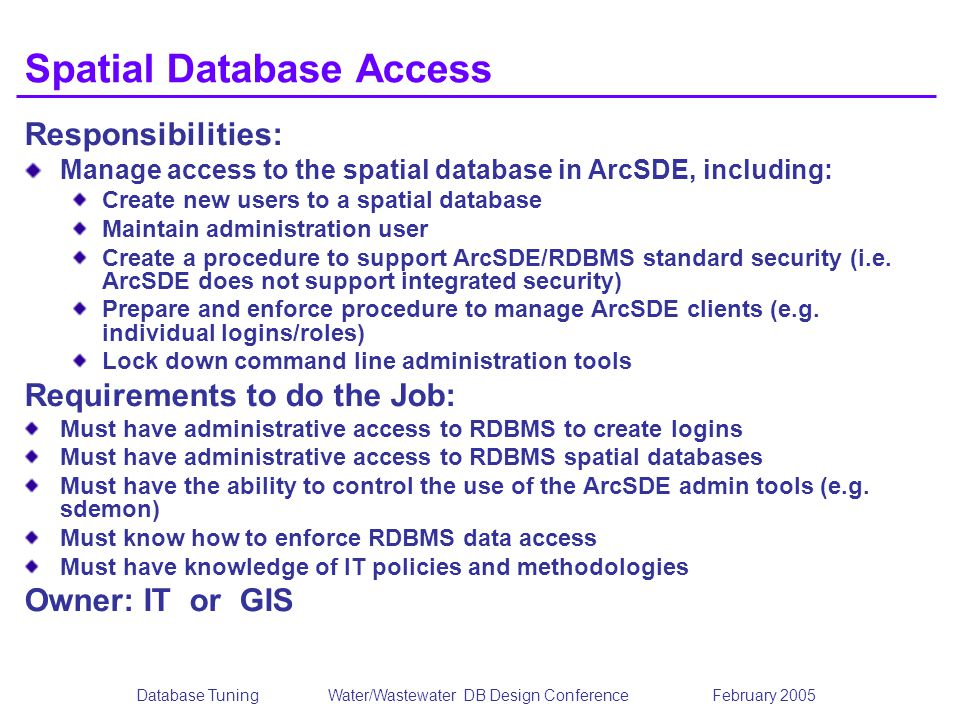 Spatial Database Access