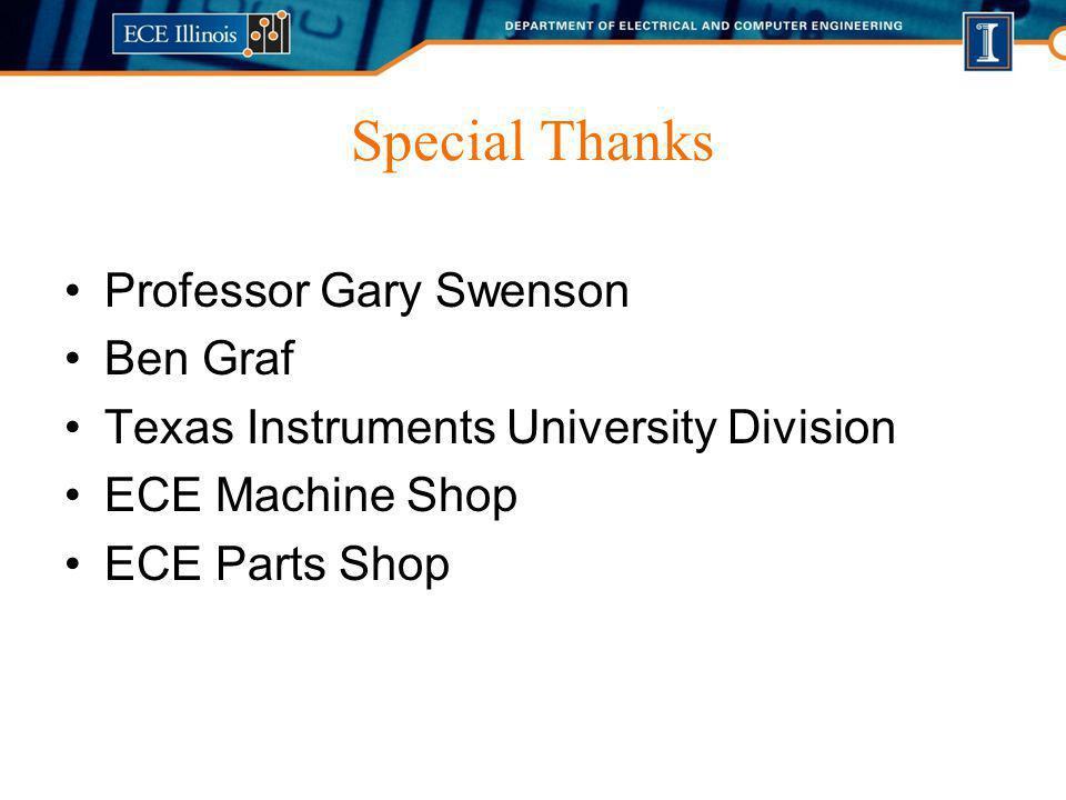 Special Thanks Professor Gary Swenson Ben Graf