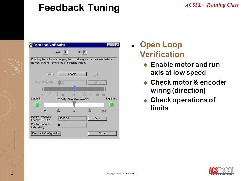 Feedback Tuning Open Loop Verification