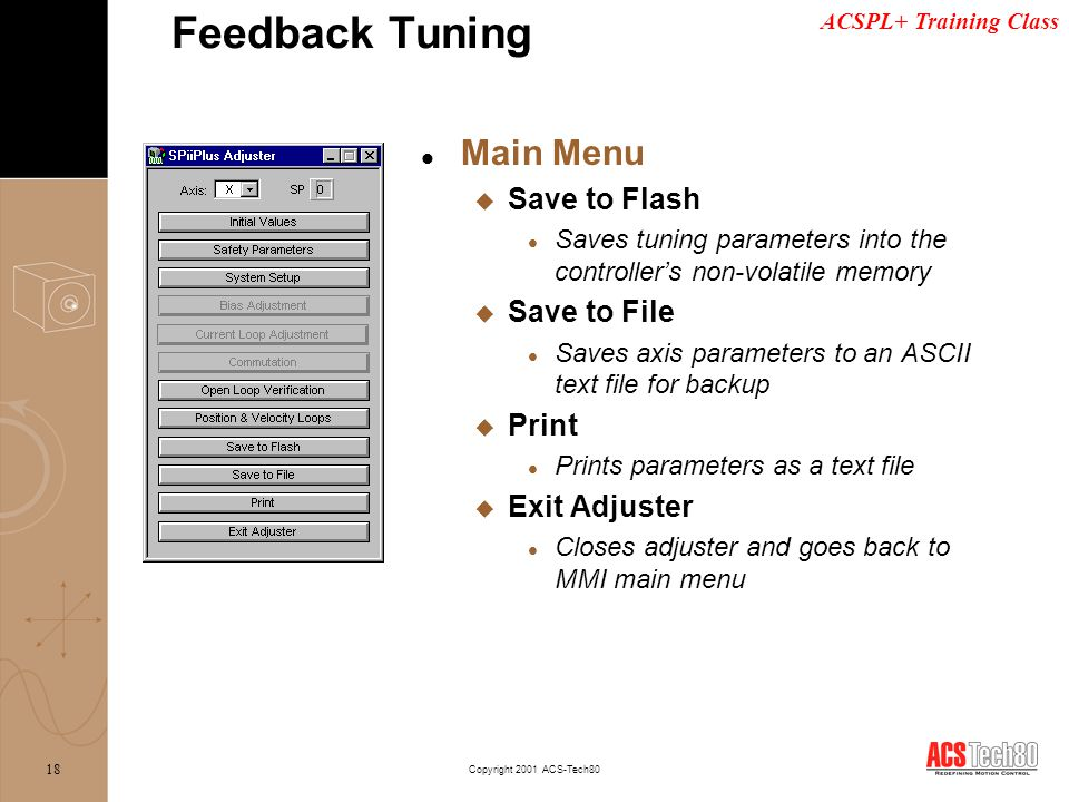 Feedback Tuning Main Menu Save to Flash Save to File Print
