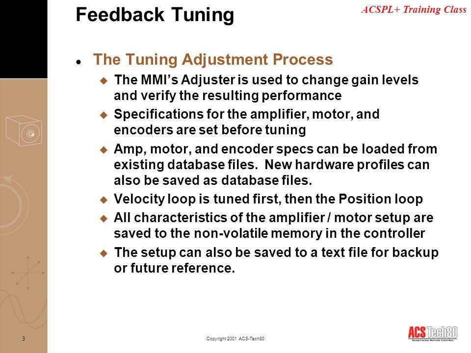 Feedback Tuning The Tuning Adjustment Process
