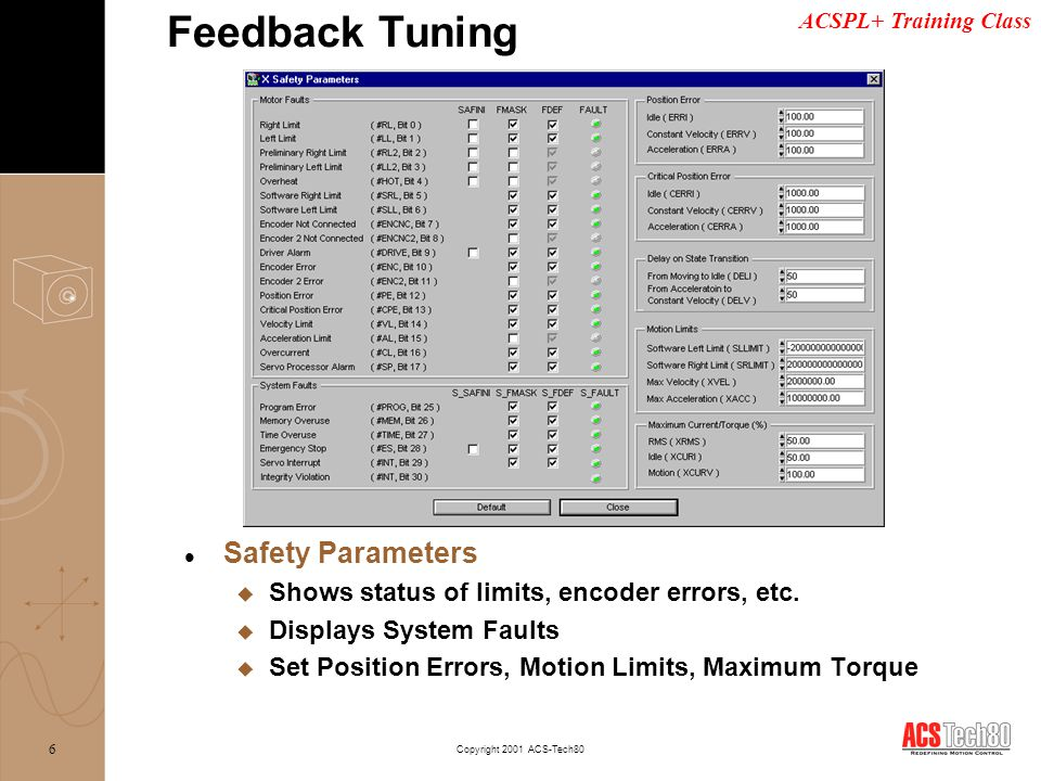 Feedback Tuning Safety Parameters