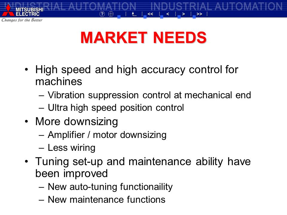 MARKET NEEDS High speed and high accuracy control for machines