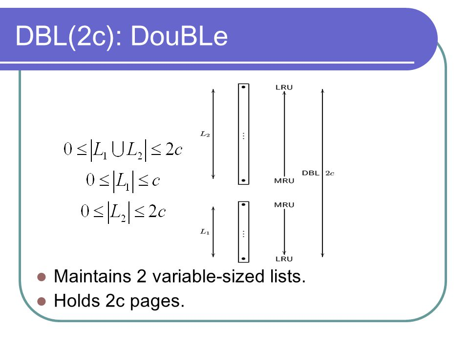 DBL(2c): DouBLe Maintains 2 variable-sized lists. Holds 2c pages.