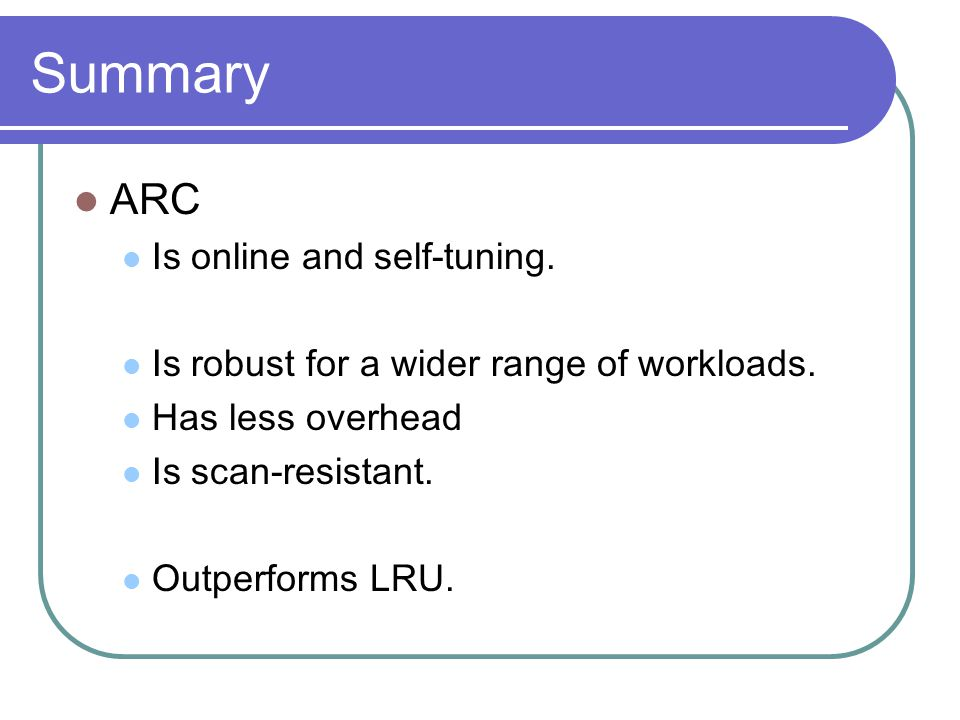 Summary ARC Is online and self-tuning.