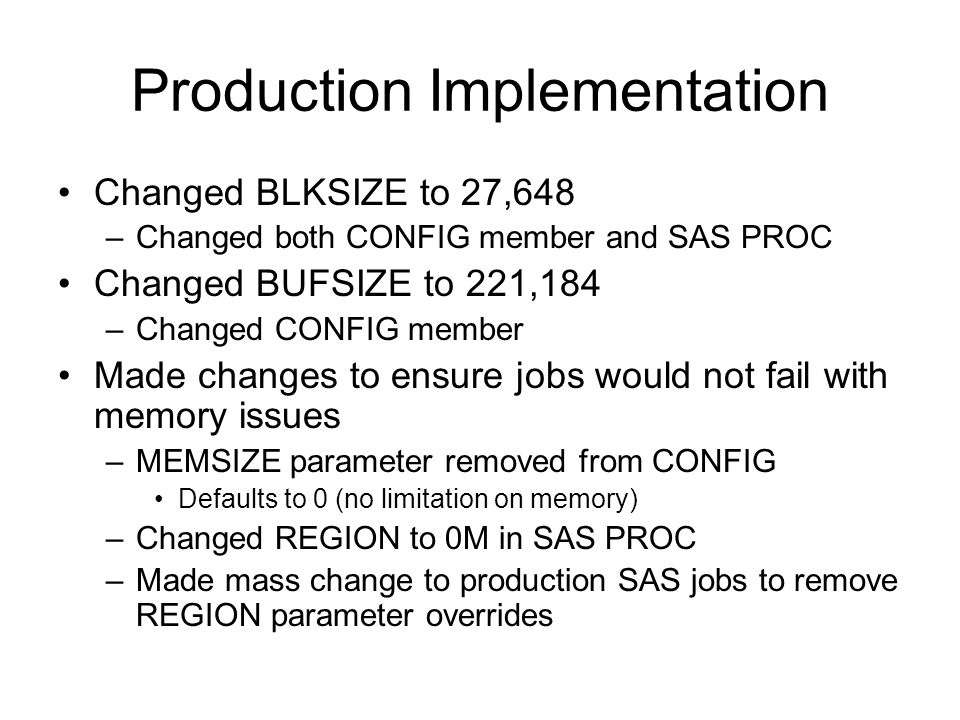 Production Implementation