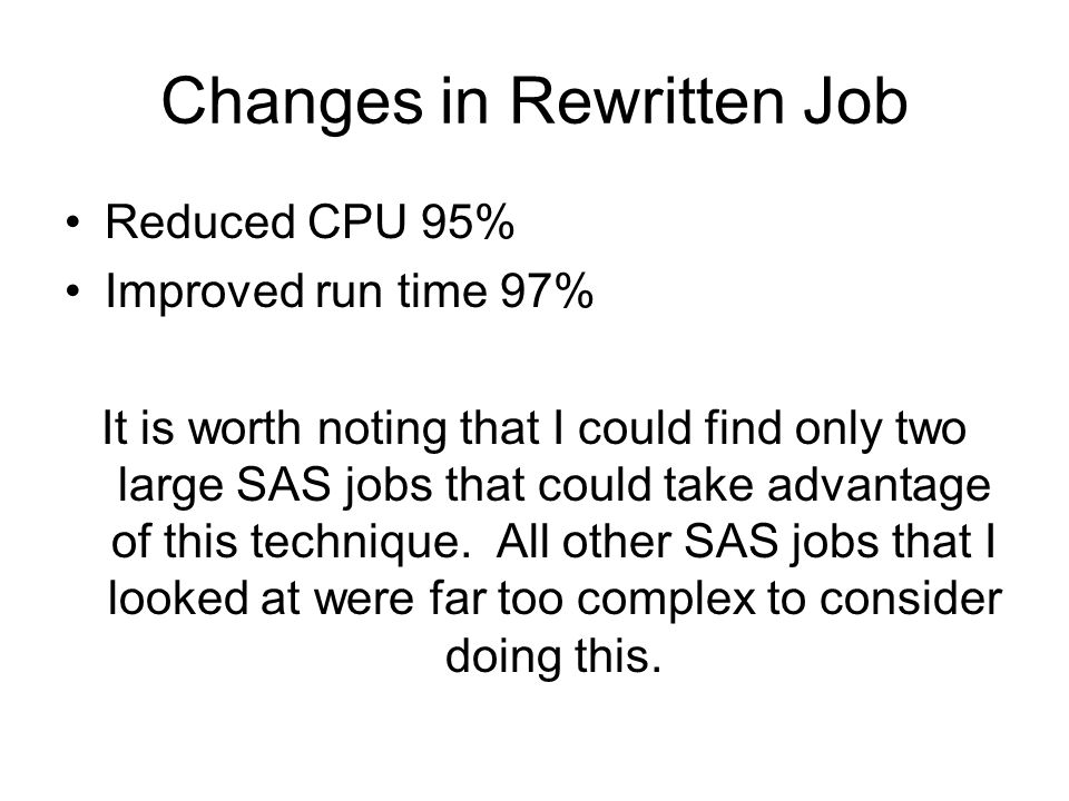 Changes in Rewritten Job