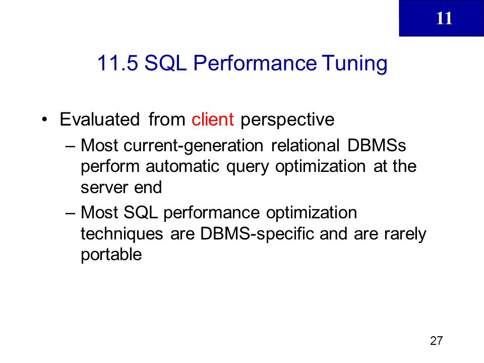 11.5 SQL Performance Tuning