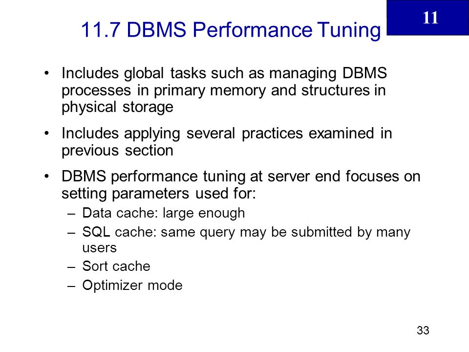 11.7 DBMS Performance Tuning