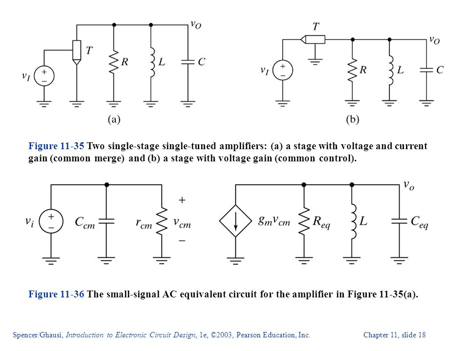 Figure Two single-stage single-tuned amplifiers: (a) a stage with voltage and current gain (common merge) and (b) a stage with voltage gain (common control).