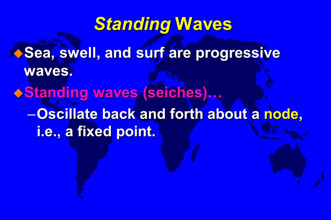 Standing Waves Sea, swell, and surf are progressive waves.