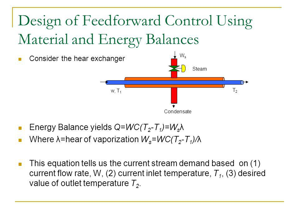 Design of Feedforward Control Using Material and Energy Balances