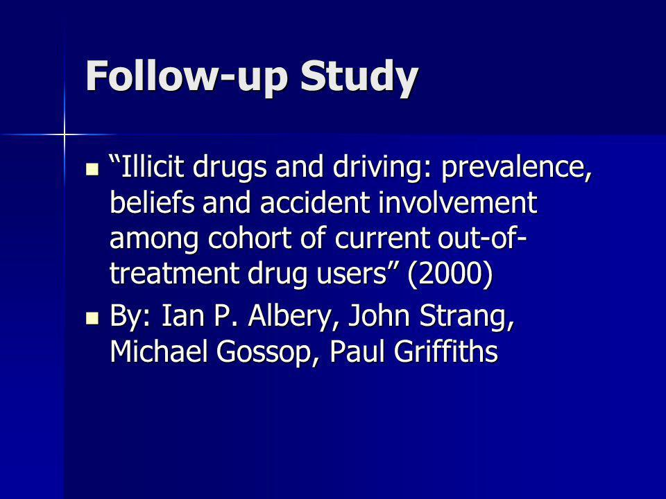 Follow-up Study Illicit drugs and driving: prevalence, beliefs and accident involvement among cohort of current out-of-treatment drug users (2000)