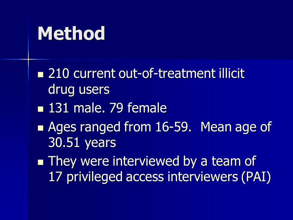 Method 210 current out-of-treatment illicit drug users