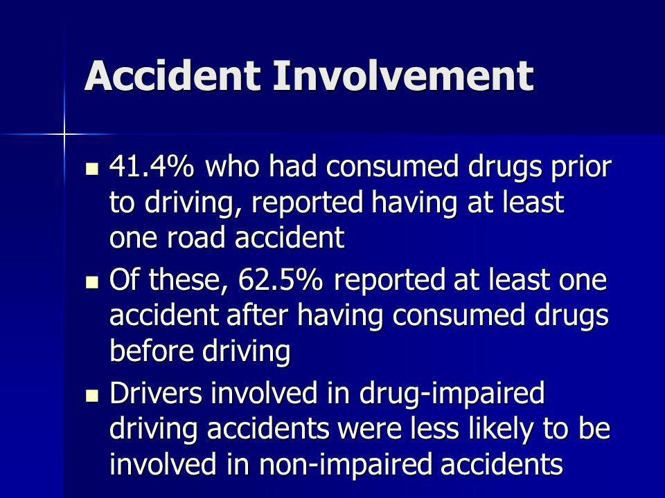 Accident Involvement 41.4% who had consumed drugs prior to driving, reported having at least one road accident.