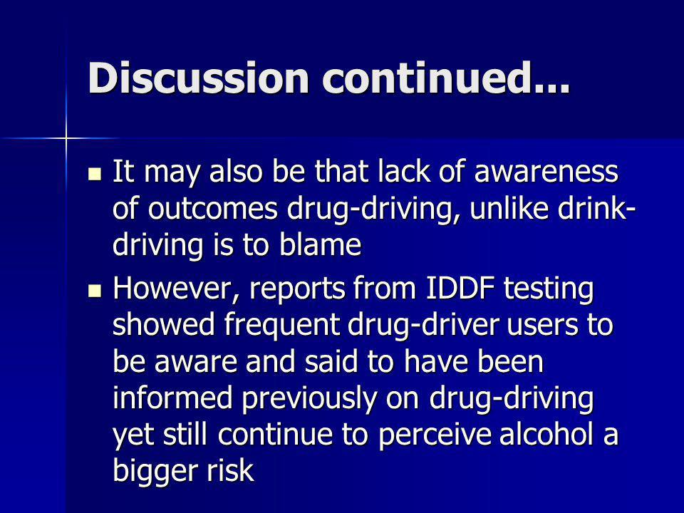 Discussion continued... It may also be that lack of awareness of outcomes drug-driving, unlike drink-driving is to blame.
