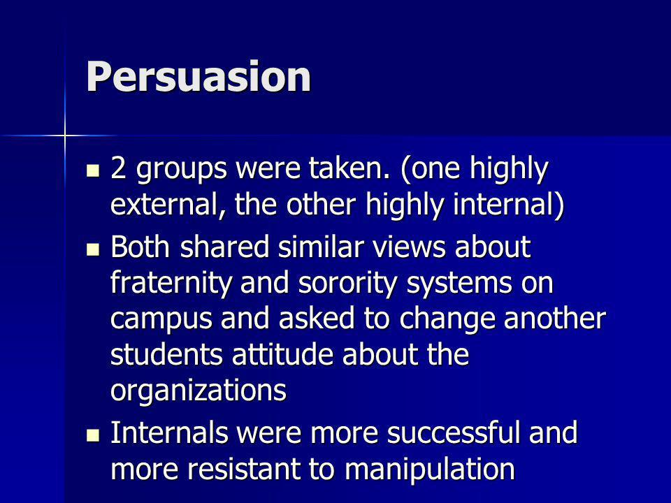 Persuasion 2 groups were taken. (one highly external, the other highly internal)