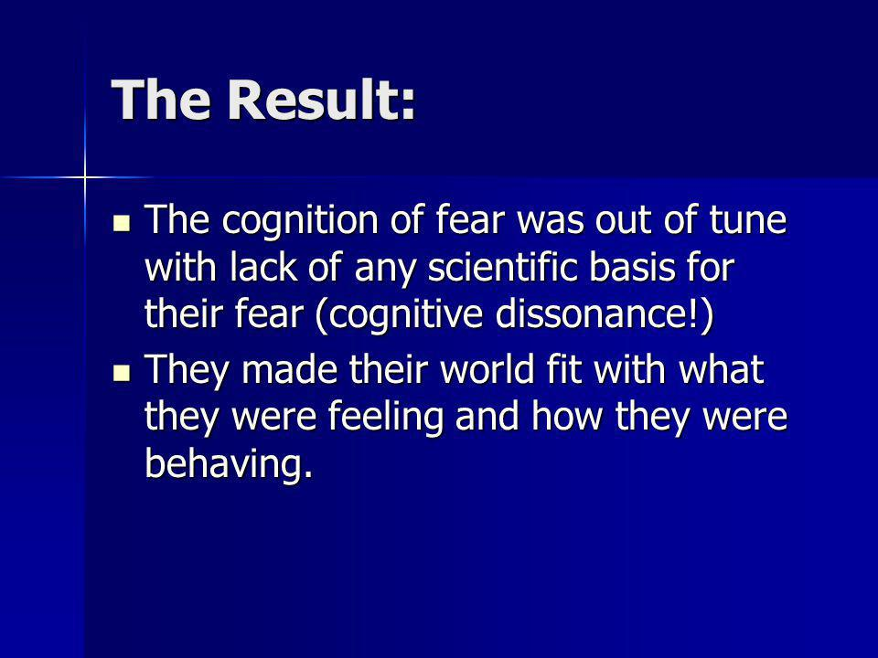 The Result: The cognition of fear was out of tune with lack of any scientific basis for their fear (cognitive dissonance!)