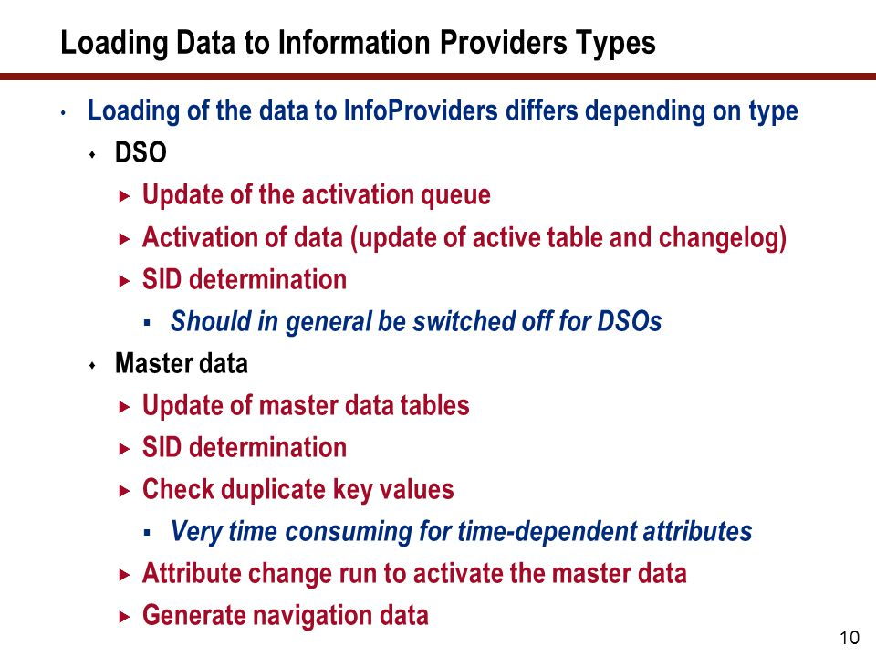 Loading Data to Information Providers Types (cont.)