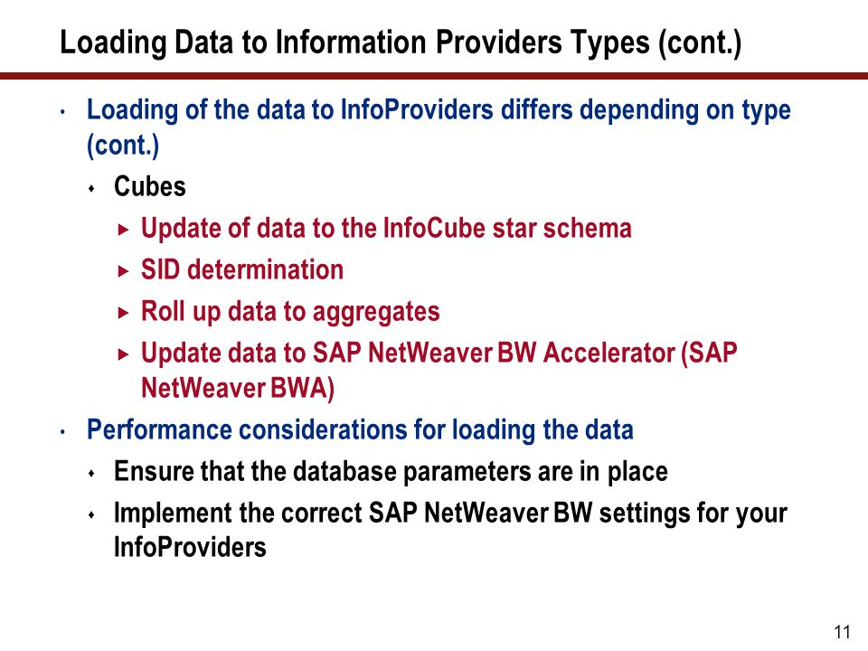 What We'll Cover … Loading data in SAP NetWeaver BW