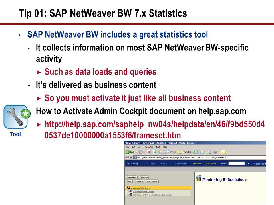 Tip 01: SAP NetWeaver BW 7.x Statistics (cont.)