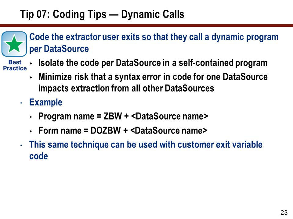 Tip 07: Coding Tips — Dynamic Calls (cont.)