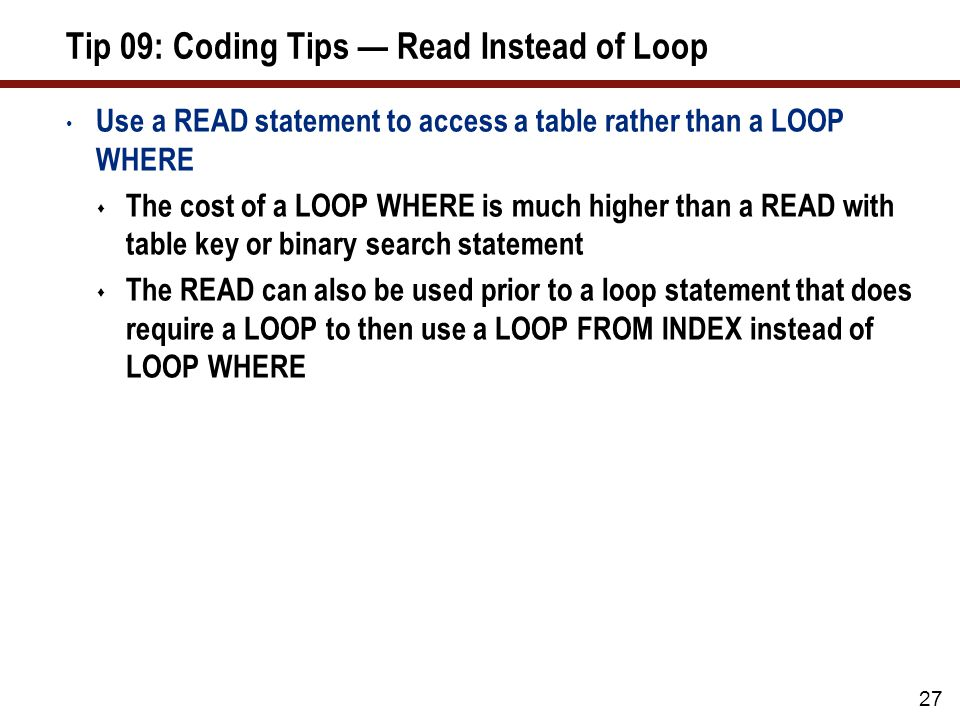 Tip 09: User Exit: Read Instead of Loop