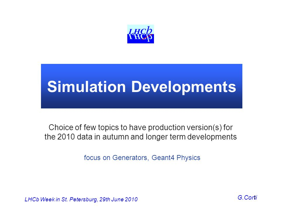 Simulation Developments