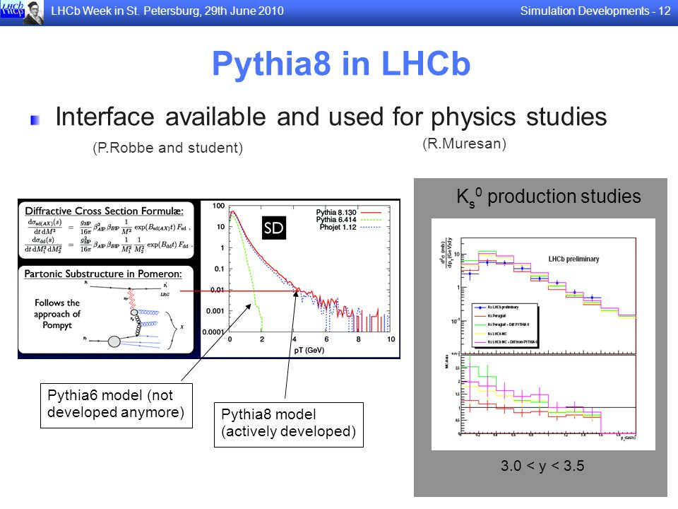 Pythia8 in LHCb Interface available and used for physics studies