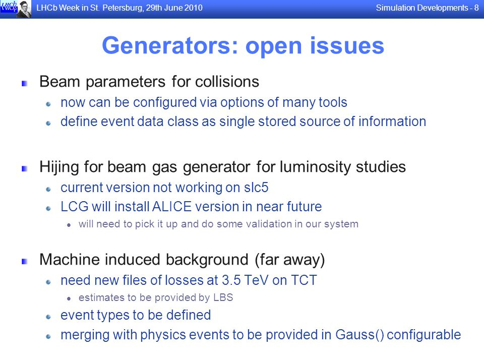 Generators: open issues