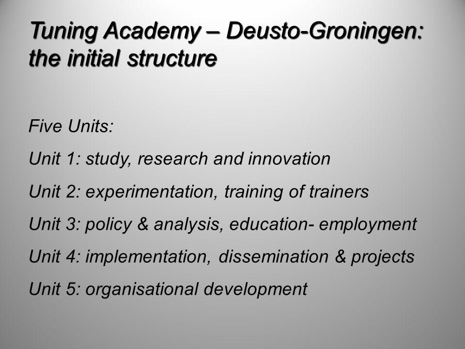 Tuning Academy – Deusto-Groningen: the initial structure