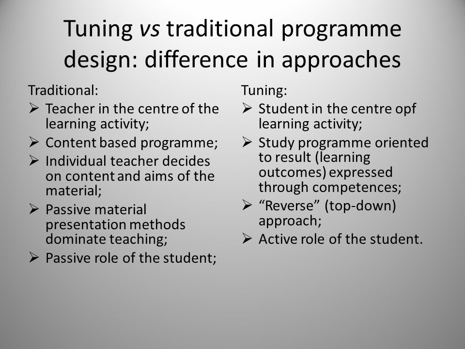 Tuning vs traditional programme design: difference in approaches