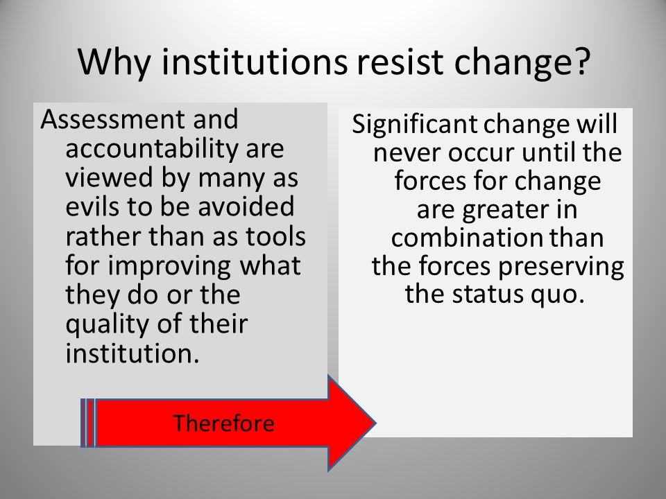 Why institutions resist change