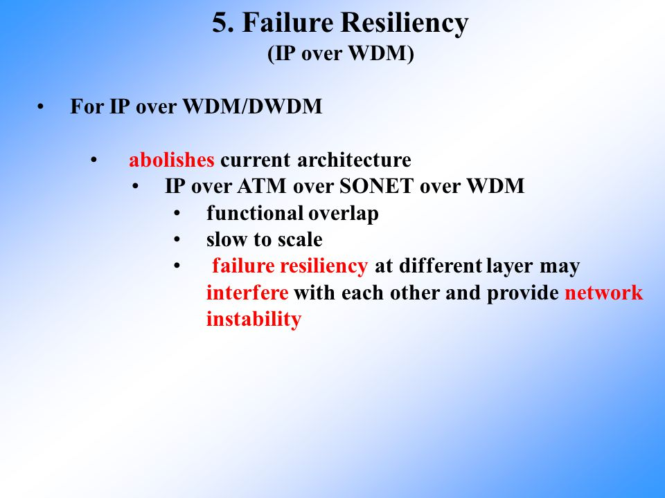5. Failure Resiliency (IP over WDM) For IP over WDM/DWDM