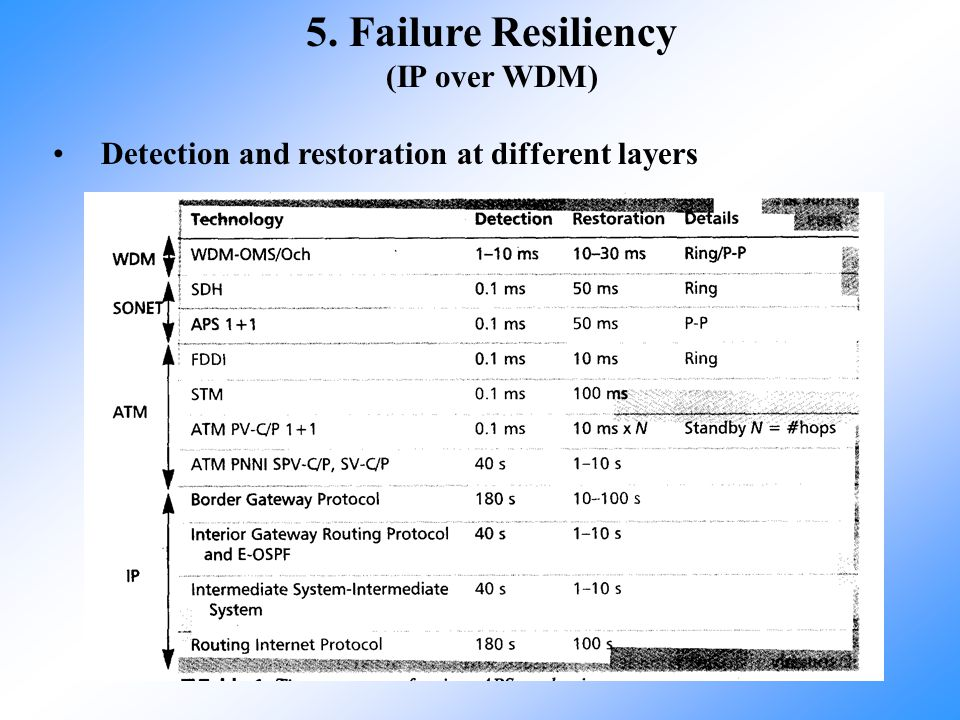 5. Failure Resiliency (IP over WDM)
