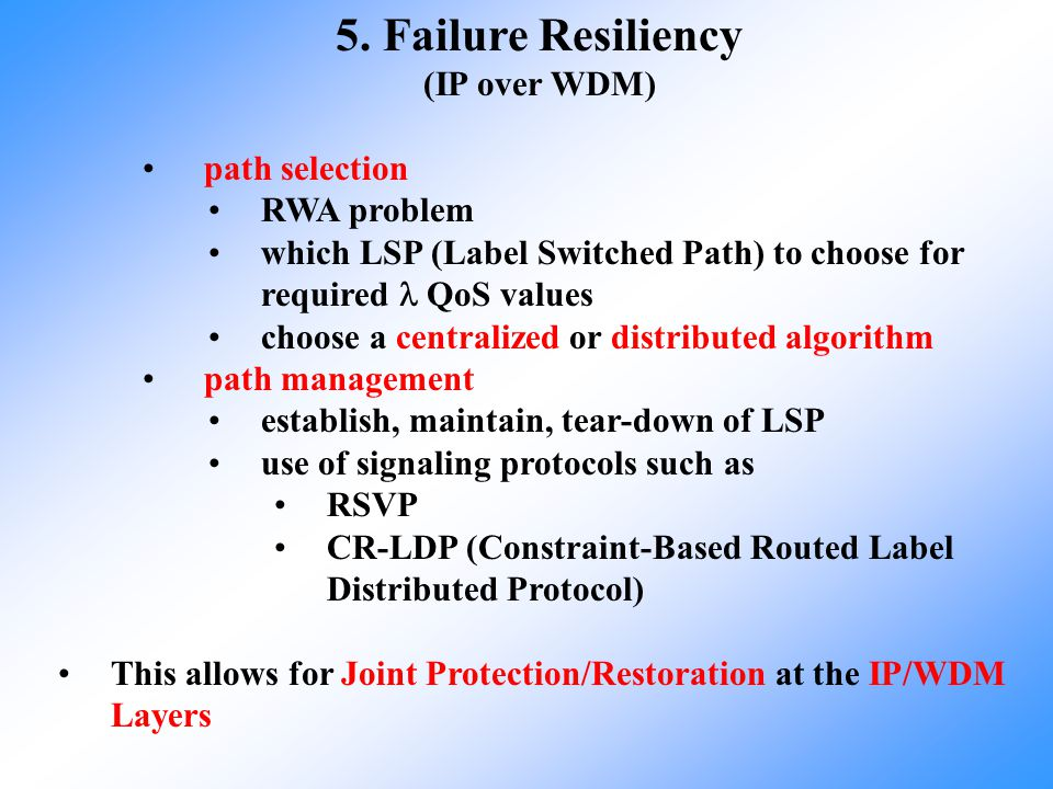 5. Failure Resiliency (IP over WDM) path selection RWA problem