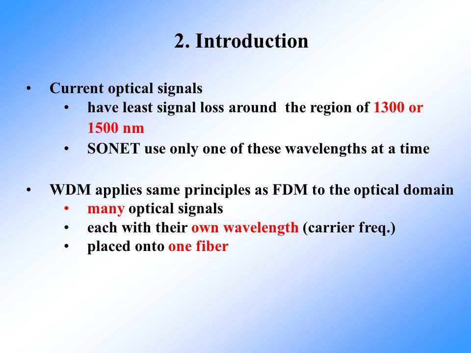 2. Introduction Current optical signals