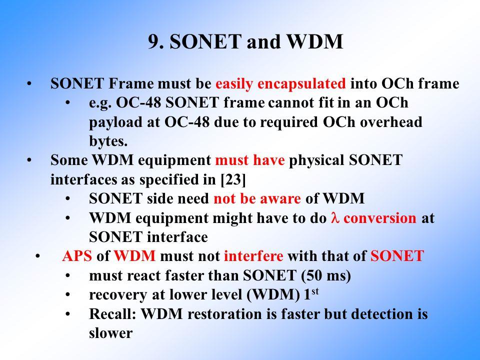 9. SONET and WDM SONET Frame must be easily encapsulated into OCh frame.