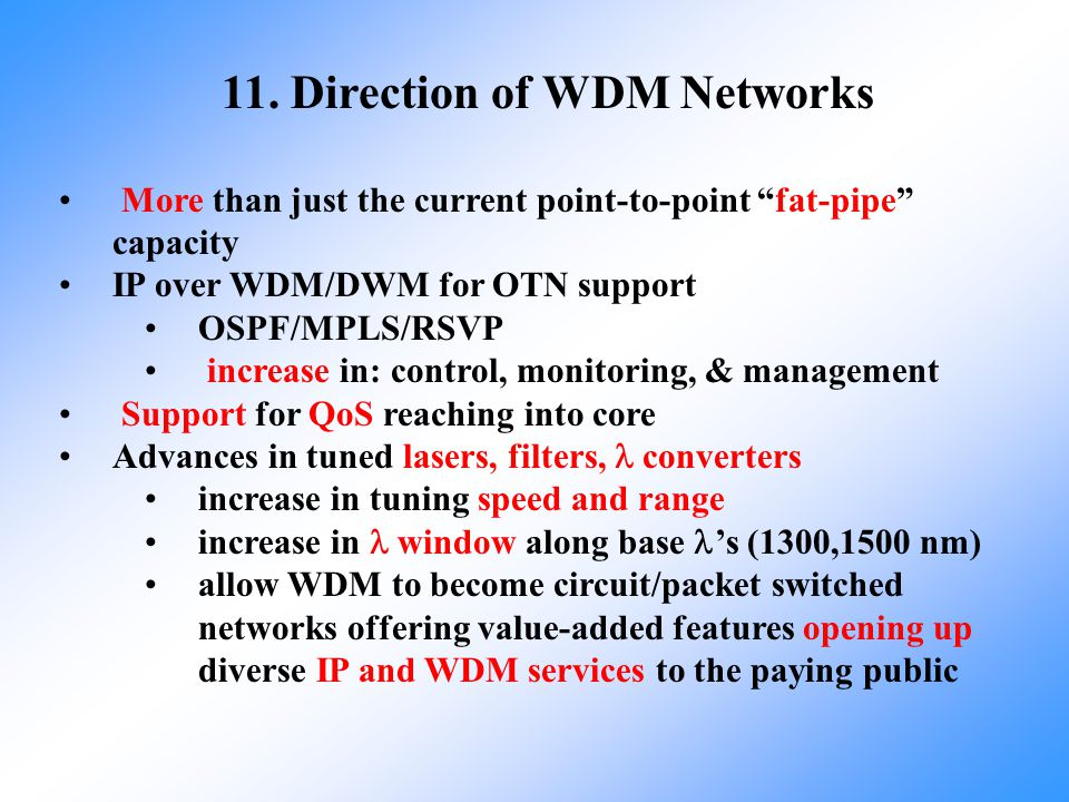 11. Direction of WDM Networks