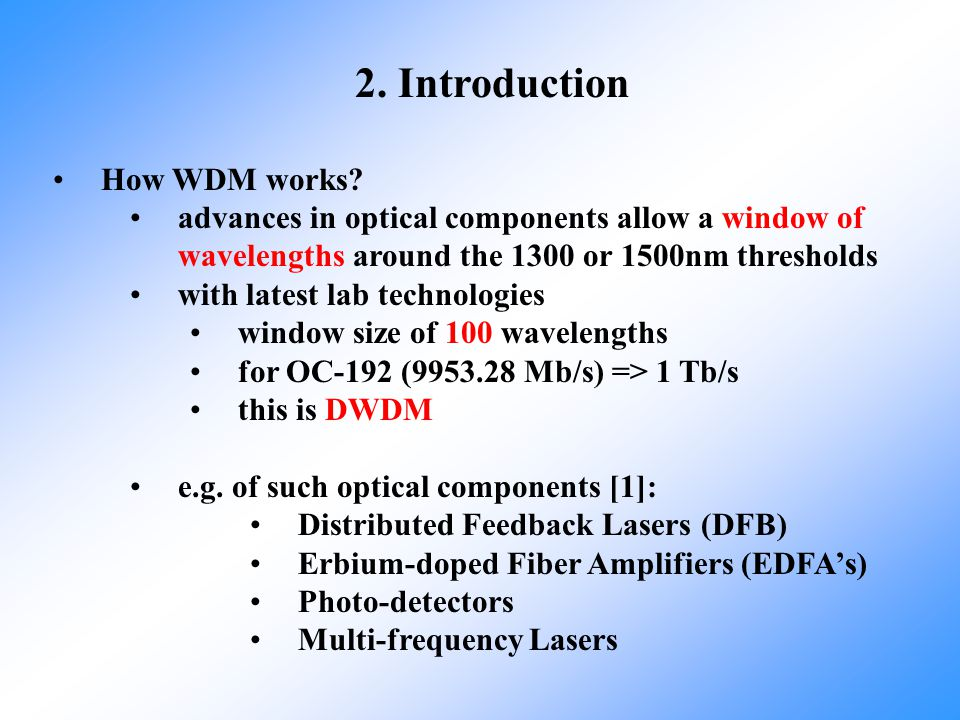 2. Introduction How WDM works