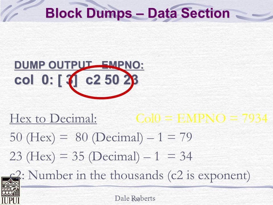 Block Dumps – Data Section