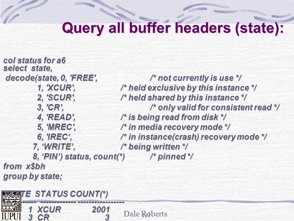 Query all buffer headers (state):