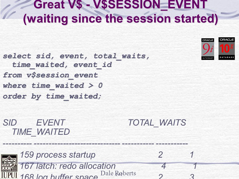 Great V$ - V$SESSION_EVENT (waiting since the session started)