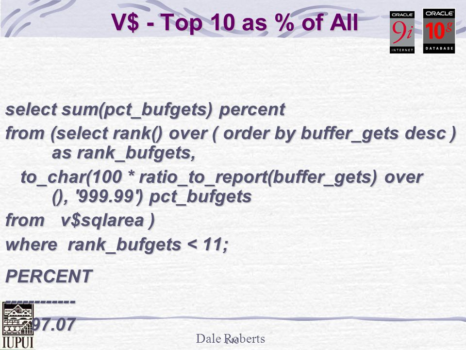 V$ - Top 10 as % of All select sum(pct_bufgets) percent