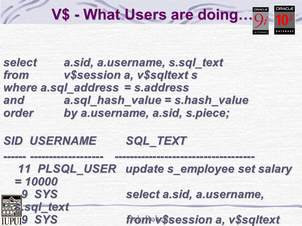 V$ - What Users are doing…