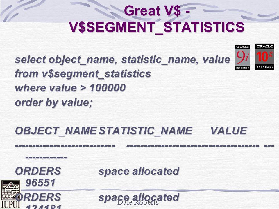 Great V$ - V$SEGMENT_STATISTICS