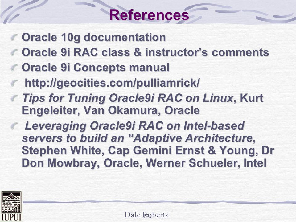 References Oracle 10g documentation