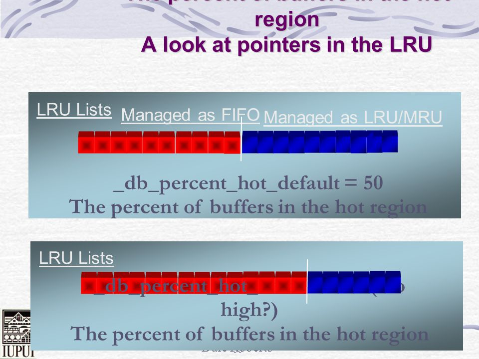 The percent of buffers in the hot region A look at pointers in the LRU