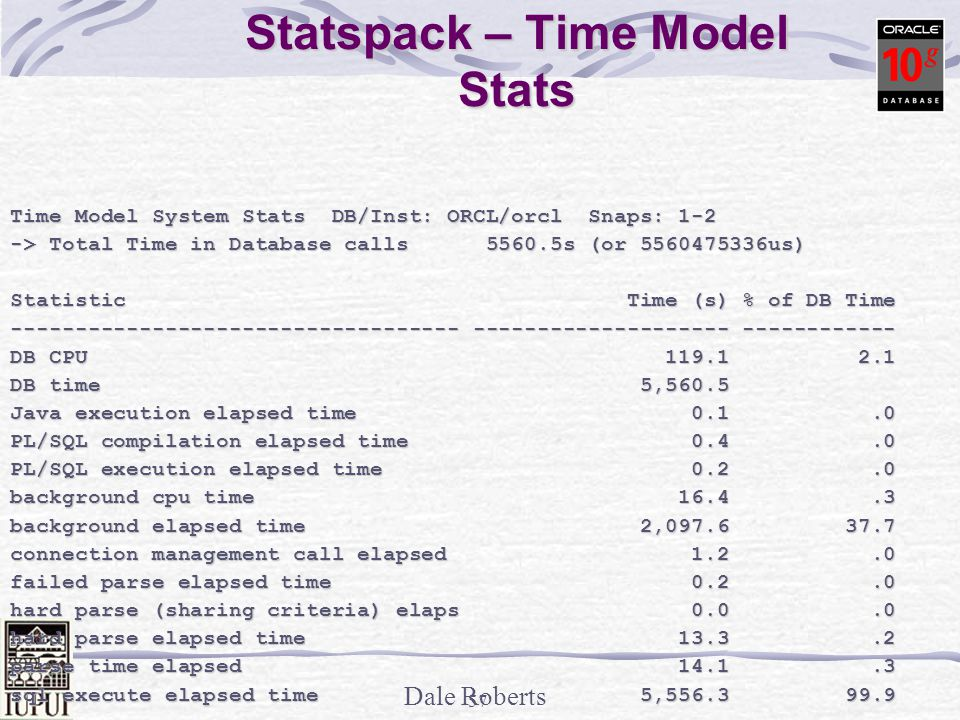 Statspack – Time Model Stats